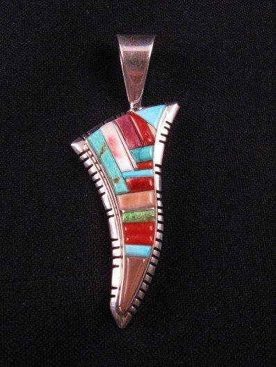 David Tune Navajo Multigem Inlay Sterling Silver Pendant