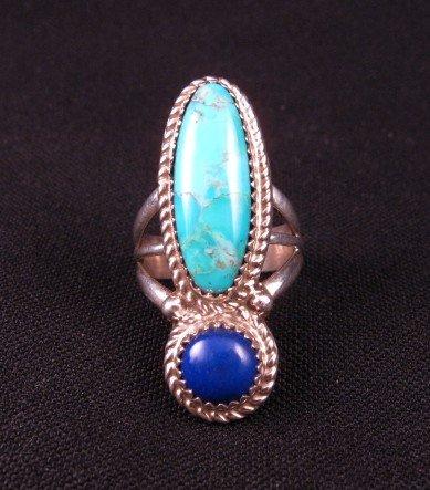 Navajo Gene & Martha Jackson Turquoise Lapis Sterling Ring sz7-1/2