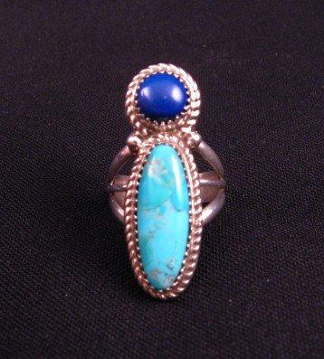 Image 1 of Navajo Gene & Martha Jackson Turquoise Lapis Sterling Ring sz7-1/2