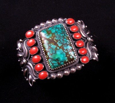 Kirk Smith Navajo Turquoise Coral Sterling Silver Bracelet
