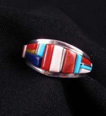 Image 0 of David Tune Navajo Cobblestone Inlay Mens Ring sz12
