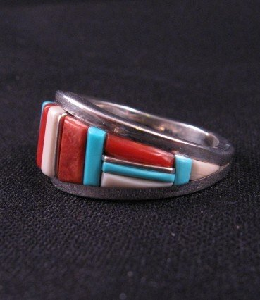 Image 1 of David Tune Navajo Cobblestone Inlay Mens Ring sz12