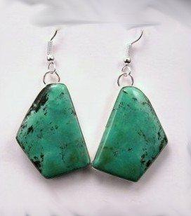 Navajo Handmade Chinese Turquoise Silver Earrings, Everett & Mary Teller