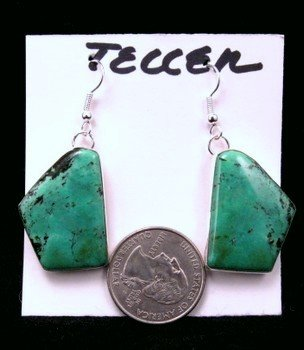 Image 1 of Navajo Handmade Chinese Turquoise Silver Earrings, Everett & Mary Teller