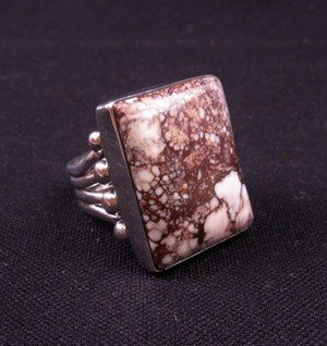 Image 1 of Navajo Orville Tsinnie Wild Horse Silver Ring Sz8-1/2