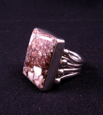 Image 2 of Navajo Orville Tsinnie Wild Horse Silver Ring Sz8-1/2