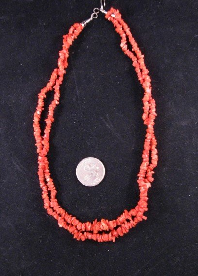 Native American Two-strand 19-inch Coral Necklace
