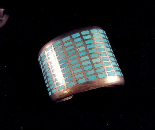 Image 0 of Fabulous Navajo Turquoise Inlay Silver Bracelet, Melvin Francis