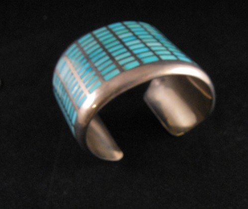 Image 3 of Fabulous Navajo Turquoise Inlay Silver Bracelet, Melvin Francis