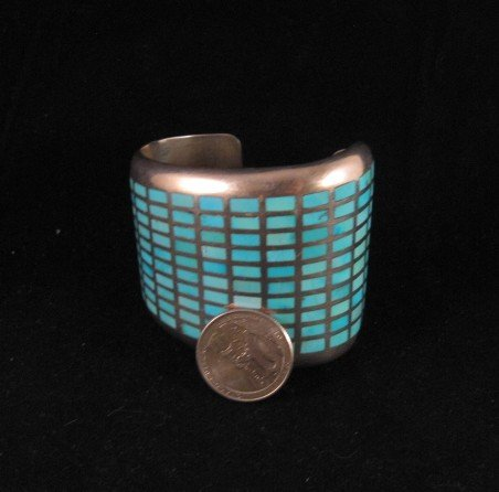 Image 2 of Fabulous Navajo Turquoise Inlay Silver Bracelet, Melvin Francis