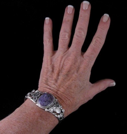 Image 0 of Navajo Native American Purple Charoite Sterling Silver Bracelet