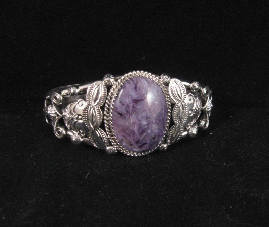 Image 1 of Navajo Native American Purple Charoite Sterling Silver Bracelet