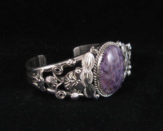 Image 2 of Navajo Native American Purple Charoite Sterling Silver Bracelet