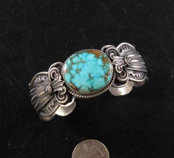 Old Pawn Style Navajo Delbert Gordon Turquoise Sterling Silver Bracelet
