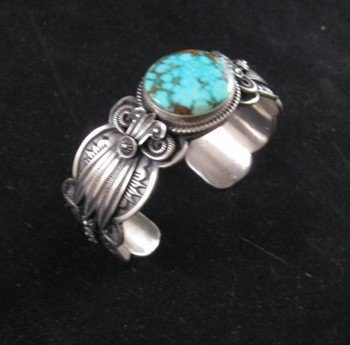 Image 1 of Old Pawn Style Navajo Delbert Gordon Turquoise Sterling Silver Bracelet