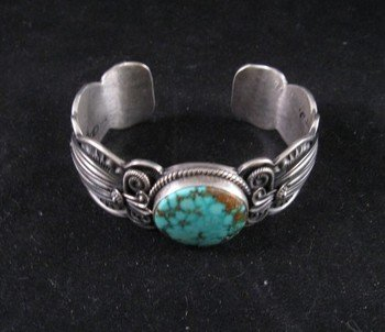Image 2 of Old Pawn Style Navajo Delbert Gordon Turquoise Sterling Silver Bracelet