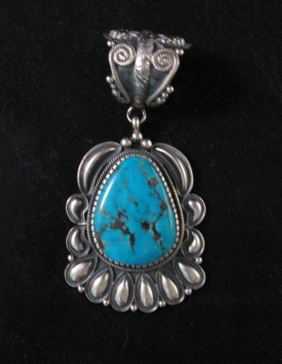 Big Navajo Kirk Smith Pilot Mountain Turquoise Pendant