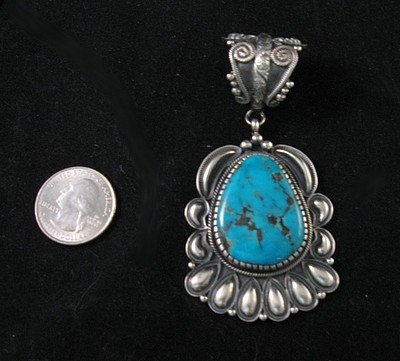 Image 1 of Big Navajo Kirk Smith Pilot Mountain Turquoise Pendant
