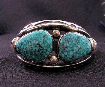 Orville Tsinnie - Navajo - Heavy Silver Kingman Turquoise Bracelet, Medium