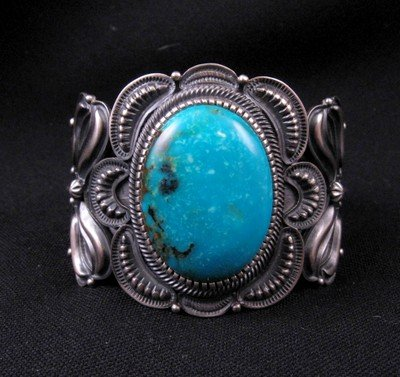Image 0 of Old Pawn Style Kirk Smith Navajo Turquoise Sterling Silver Bracelet size small