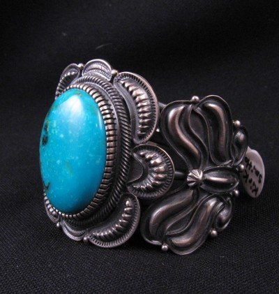 Image 1 of Old Pawn Style Kirk Smith Navajo Turquoise Sterling Silver Bracelet size small