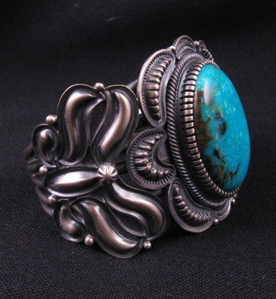Image 2 of Old Pawn Style Kirk Smith Navajo Turquoise Sterling Silver Bracelet size small