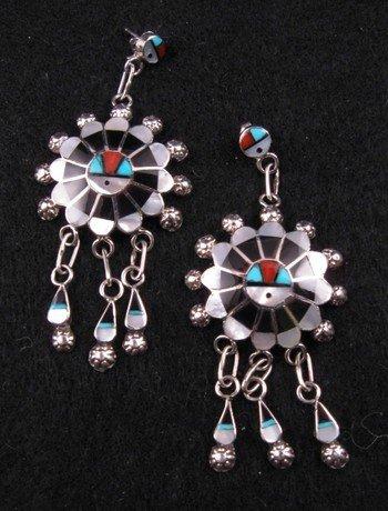 Image 0 of Zuni Abel Soseeah Sunface Earrings with Dangles