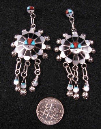 Image 1 of Zuni Abel Soseeah Sunface Earrings with Dangles