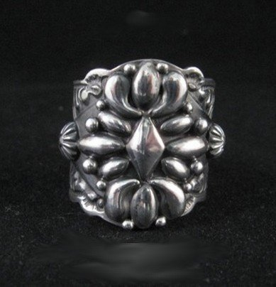 Image 0 of Native American Darryl Becenti Navajo Sterling Silver Ring sz11-1/2