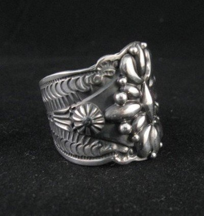 Image 1 of Native American Darryl Becenti Navajo Sterling Silver Ring sz11-1/2