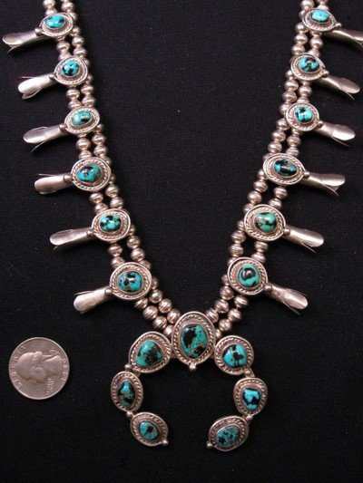 Vintage Navajo Native American Turquoise Silver Squash Blossom Necklace
