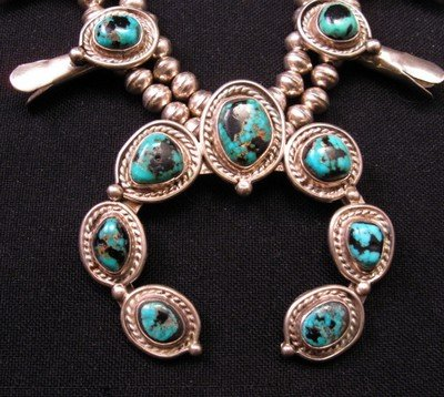 Image 1 of Vintage Navajo Native American Turquoise Silver Squash Blossom Necklace