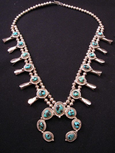 Image 2 of Vintage Navajo Native American Turquoise Silver Squash Blossom Necklace