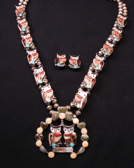 Vintage Zuni Native American Owl Squash Blossom Necklace Earrings Set