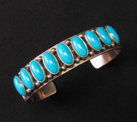 Navajo Kirk Smith Turquoise Sterling Silver Row Bracelet X-Large