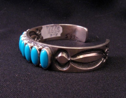 Image 1 of Navajo Kirk Smith Turquoise Sterling Silver Row Bracelet X-Large