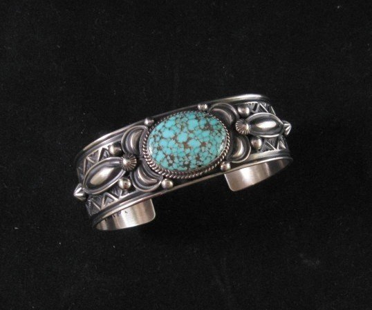 Native American Andy Cadman Navajo Turquoise Sterling Silver Bracelet