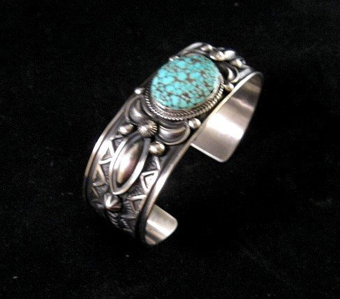 Image 1 of Native American Andy Cadman Navajo Turquoise Sterling Silver Bracelet