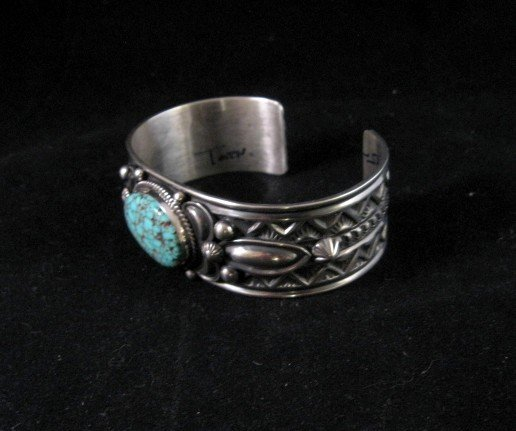 Image 2 of Native American Andy Cadman Navajo Turquoise Sterling Silver Bracelet
