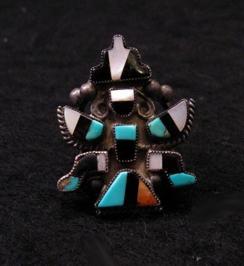 Vintage Native American Zuni Inlaid Knifewing Ring sz5