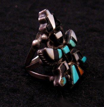 Image 1 of Vintage Native American Zuni Inlaid Knifewing Ring sz5