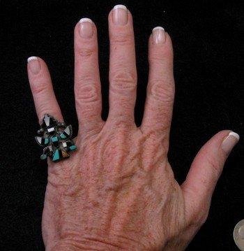 Image 2 of Vintage Native American Zuni Inlaid Knifewing Ring sz5