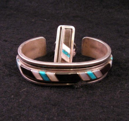 Vintage Zuni Jewelry Inlay Bracelet & Ring, W J Panteah