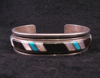Image 1 of Vintage Zuni Jewelry Inlay Bracelet & Ring, W J Panteah