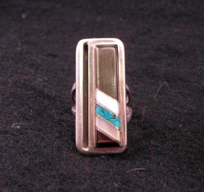 Image 2 of Vintage Zuni Jewelry Inlay Bracelet & Ring, W J Panteah