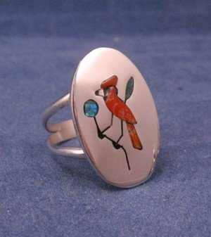 Native American Zuni Inlaid Cardinal Ring sz9-1/4, Ed Booqua