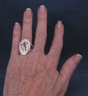Image 1 of Native American Zuni Inlaid Cardinal Ring sz9-1/4, Ed Booqua