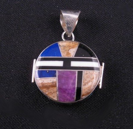 Image 1 of Reversible Two-sided Inlaid Pendant  * Edison Yazzie * Navajo