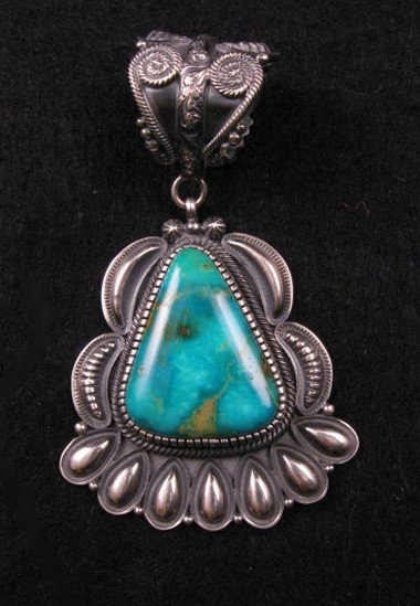 Navajo Kirk Smith Pilot Mountain Turquoise Pendant