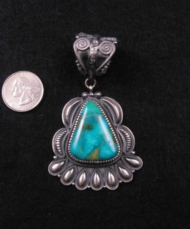 Image 1 of Navajo Kirk Smith Pilot Mountain Turquoise Pendant